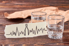Heart illness as result of alcoholism. Tachycardia, heart problems and alcohol addiction Royalty Free Stock Photography