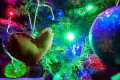 Heart illuminated light on the Christmas Stock Photo