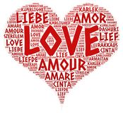 Heart illustrated with Love Word. Of different languages, white background Royalty Free Stock Photo