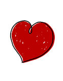 Heart illustration. Red heart illustration; freehand heart Drawing Royalty Free Stock Photos