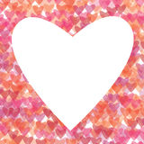Heart illustration. White heart on colorful hearts background Stock Images