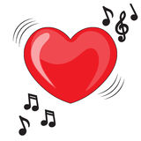 Heart illustration with music notes. Heart music Royalty Free Stock Photos