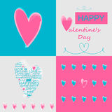 Heart illustration. Postcard with hearts for Valentine's day. Heart made of words with clouds. Vector illustration Royalty Free Stock Image