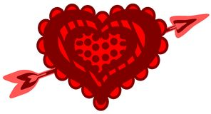 Decorated heart with arrow isolated Royalty Free Stock Photo