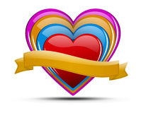 Heart illustration set. Glossy colored hearts with ribbon and shadow on light background - for your text Royalty Free Stock Photo