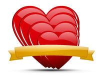 Heart illustration set. Glossy colored hearts with ribbon and shadow on light background - for your text Royalty Free Stock Image
