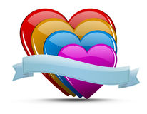 Heart illustration set. Glossy colored hearts with ribbon and shadow on light background - for your text Stock Photography