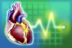 Heart image with pulse lifeline monitor illustration. Illustration of a heart and monitor pulse stock illustration