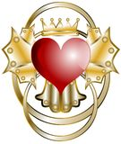 Stylized Heart with crown isolated Royalty Free Stock Images