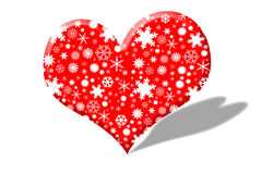 Heart images with snow inside. Royalty Free Stock Images