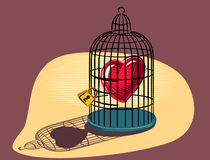 Heart imprisoned in a birdcage. Heart imprisoned in a birdcage, lit Royalty Free Stock Images