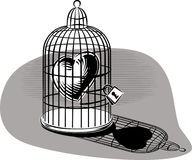 Heart imprisoned in a birdcage. Heart imprisoned in a birdcage, lit Stock Photography
