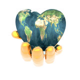 Heart In Hand With Earth Texture
