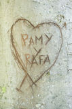 Heart and initials. Initials of lovers on tree bark Royalty Free Stock Images