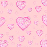 Heart ink brush texture vector on pink backgrounds Royalty Free Stock Photos