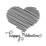 Heart - ink scribble sketch drawing with Happy Valentine calligraphic text in black on white background. Valentine card. Doodle concept. Vector illustration royalty free illustration