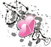 Heart inkblot. Two pink hearts on a wire and blot. Vector illustration Royalty Free Stock Photo