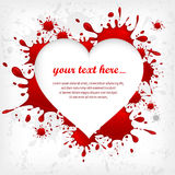 Heart on inkblots background & text Royalty Free Stock Images