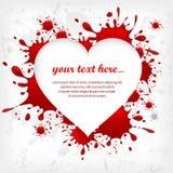 Heart on inkblots background & text. White heart silhouette on red inkblots background & text, Valentine Day vector illustration royalty free illustration