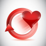 Heart inside a cycle illustration design Stock Image