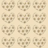 A heart with inside flowers, gift card or cloth, pattern, repeating pattern, Royalty Free Stock Image