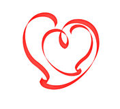 Heart inside the heart. Heart inside the heart of scarlet band. Isolated over white Stock Images