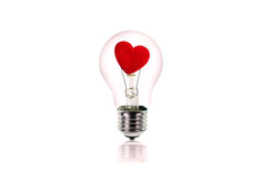 Heart inside the light bulb.Love concept Royalty Free Stock Photo
