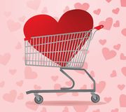 Heart inside shopping cart. On heart background, vector. Valentines day sale Stock Image