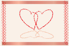 Heart invitation. Hearts in a frame with borders Stock Image