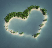 Heart island. 3d rendering of an heart shape tropical island Royalty Free Stock Photo