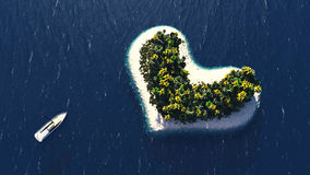 Heart island and beach paradise Stock Images