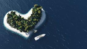 Heart island and beach paradise Stock Photo
