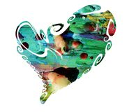 Heart. Isolated heart with phosphorescent hues royalty free stock photos