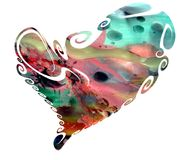Heart isolated in pastel watercolor hues and wax stock image