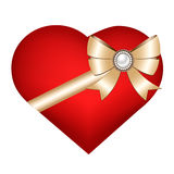 Heart isolated on white background. Happy Valentines Day. Card with 3D heart, bow and brooch. Red heart isolated on white background Stock Images