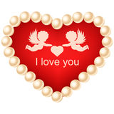 Heart isolated on white background. Happy Valentines Day. Card with heart, pearls and angels. Red heart isolated on white background. Elements for wedding card Royalty Free Stock Photo