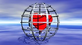 Heart in a jail. Red heart in a spheric jail, on the blue sea and with a deep blue sky in background Stock Image