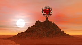 Heart in jail in the desert. By sunset Royalty Free Stock Images