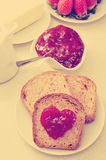 Heart of jam on a toast, filtered Royalty Free Stock Photo