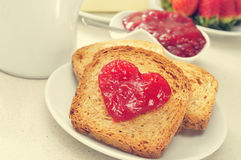 Heart of jam on a toast Royalty Free Stock Images