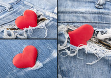 Heart in jeans.Collage Royalty Free Stock Photo