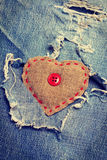 Heart on jeans Royalty Free Stock Photography
