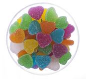 Heart Jelly in a Round Glass Bowl. Heart shape jelly in a round glass bowl with white background royalty free stock images
