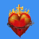 Heart of Jesus. On a blue background Stock Photo