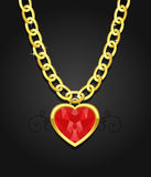 Heart jewel hanging on the chain. Illustration of the massive chain and heart jewel in gold Stock Photos