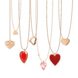 Heart Jewellery. Golden jewellery chain with heart pendants stock illustration