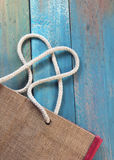 Heart at jute shopping bag Royalty Free Stock Images