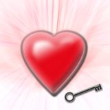 Heart with key. On the pink rays Royalty Free Stock Image