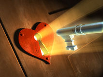 Heart key. Light beams passing through an earth-shaped keyhole and illuminating a key in front of it. Digital illustration Stock Photos