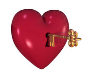 Heart with Key. 3D render of a heart with a keyhole and key Stock Image